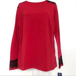Izod red long sleeve blouse with lace